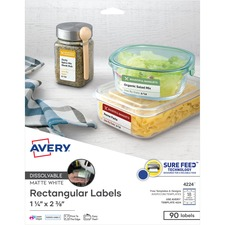 AVE 4224 Avery Rectangle Dissolvable Labels AVE4224