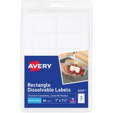 AVE 4225 Avery Rectangle Dissolvable Labels AVE4225