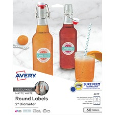 AVE 4227 Avery Round Dissolvable Labels AVE4227