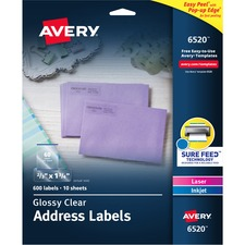 AVE6520 - Avery&reg Easy Peel High Gloss Clear Mailing Labels