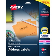 AVE6521 - Avery&reg Easy Peel High Gloss Clear Mailing Labels