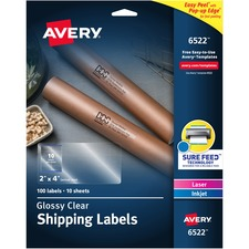 AVE6522 - Avery® Easy Peel High Gloss Clear Mailing Labels