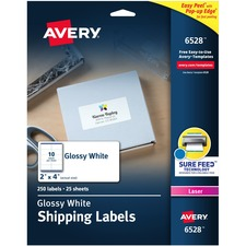 AVE6528 - Avery® Shipping Labels, Sure Feed(TM) Technology, Laser Only, 2