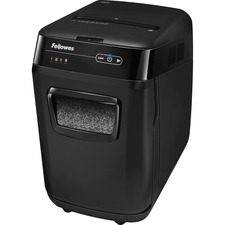"Fellowes AutoMaxâ""¢ 200M Auto Feed Shredder - Non-continuous Shredder - Micro Cut - 10 Per Pass - for shredding CD, DVD, Credit Card, Staples, Paper Clip, Junk Mail, Paper - 0.1"" x 0.5"" Shred Size - P-5 - 3.35 m/min - 9"" Throat - 12 Minute Run Time -"