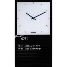 LLR 19208 Lorell Memo Board Glass Clock LLR19208