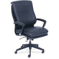 "Lorell Infinity Executive Chair - Black Bonded Leather Seat - Black Bonded Leather Back - 5-star Base - 27.3"" Width x 29.8"" Depth x 47"" Height - 1 Each"