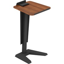 "Lorell Lectern - Walnut, Laminated Top - U-shaped Base - 45"" Height x 23"" Width x 20"" Depth - Assembly Required"
