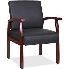 LLR68556 - Lorell Black Leather/Wood Frame Guest Chair