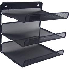 """Lorell Mesh Desktop Organizer - 12.8"""" Height x 10.8"""" Width13.4"""" Length - Desktop - Durable - Black - Metal - 1 Each"""