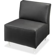 Lorell Fuze Modular Series Black Leather Guest Seating - Black Leather Seat - Black Leather Back - Brushed Aluminum Frame - High Back