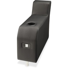 Lorell Fuze Modular Series Black Leather Guest Seating - Black - Leather