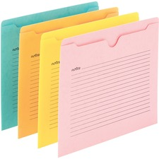 """Smead Straight Tab Cut Letter Recycled File Jacket - 8 1/2"""" x 11"""" - Aqua, Goldenrod, Pink, Yellow - 10% - 12 / Pack"""