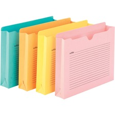"""Smead Straight Tab Cut Letter Recycled File Jacket - 8 1/2"""" x 11"""" - 2"""" Expansion - Aqua, Goldenrod, Pink, Yellow - 10% - 12 / Pack"""