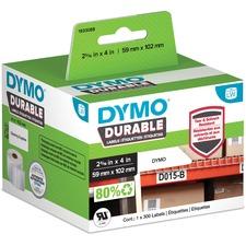 "Dymo Address Label - 2 21/64"" x 4 1/64"" Length - White - Plastic - 300 / Roll"