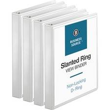 BSN28440BD - Business Source Basic D-Ring White View Binders
