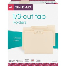 SMD10330CT - Smead 1/3 Tab Cut Letter Recycled Top Tab File Folder