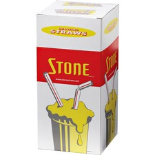 "Bunzl Stone 8"" Regular Straws - 8"" Length - Plastic - 500 / Box"