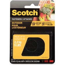"Scotch Outdoor Fasteners - 1"" (25.4 mm) Width x 3"" (76.2 mm) Length - Dual Lock - 1 Pack - Black"