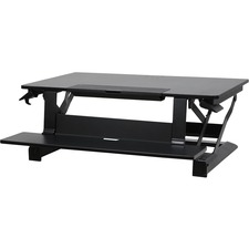 "Ergotron WorkFit-TLE, Sit-Stand Desktop Workstation - Black Rectangle Top - 23"" Table Top Length x 37.3"" Table Top Width x 3.5"" Table Top Depth"
