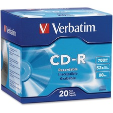 VER 94936 Verbatim 700MB Branded 52X Slim Case CD-R VER94936