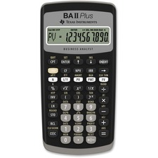 "Texas Instruments BA-II Plus Advance Financial Calculator - Power OFF Memory Protection - 1 Line(s) - 10 Digits - LCD - Battery Powered - 1 - Button Cell - 0.6"" x 3"" x 6"" - Dark Gray - 1 / Each"