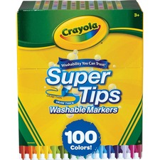 Crayola SuperTips Washable Markers - Conical Point Style - 100 / Set