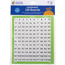 LRN LER0877 Learning Res. Ages 5+ Laminated 120 Math Boards LRNLER0877