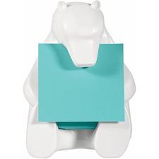 """Post-it® White Bear Dispenser Pop-up Note Dispenser - 3"""" (76.20 mm) x 3"""" (76.20 mm) Note - White"""
