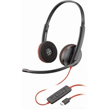 PLN BLKWIREC3220 Plantronics USB Binaural Headset PLNBLKWIREC3220