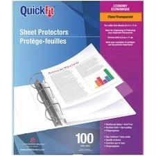 "QuickFit Sheet Protector - For Letter 8 1/2"" x 11"" Sheet - 3 x Holes - Rectangular - Clear - Polypropylene - 100 / Box"