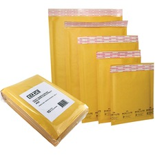 """Spicers Paper Mailer - Bubble - #5 - 10 1/4"""" Width x 15"""" Length - Self-adhesive Seal - 10 / Pack - Golden"""