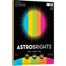 """Astrobrights Inkjet, Laser Colored Paper - Cosmic Orange, Terrestrial Teal, Planetary Purple, Fireball Fuchsia, Solar Yellow - Recycled - Letter - 8 1/2"""" x 11"""" - 24 lb Basis Weight - 89 g/m² Grammage - Smooth - 100 / Pack - Green-e - Acid-free, Lignin-free, Bleed Proof"""