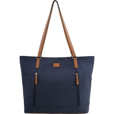 """Roots Carrying Case (Satchel) for 15"""" Notebook - Navy Blue - Faux Leather Trim, Polyester - Textured - 14"""" (355.60 mm) Height x 15"""" (381 mm) Width x 4.25"""" (107.95 mm) Depth - 1 Pack"""