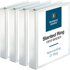 BSN28441BD - Business Source Basic D-Ring White View Binders