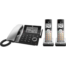 AT&T CL84207 DECT 6.0 Corded/Cordless Phone - Silver, Black - 1 x Phone Line - Speakerphone - Answering Machine - Hearing Aid Compatible