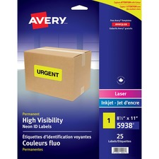 Avery® High Visibility Neon ID Labels - Permanent Adhesive - Rectangle - Inkjet, Laser - Neon Yellow - 25 / Sheet - 1 Total Sheets - 25 / Pack