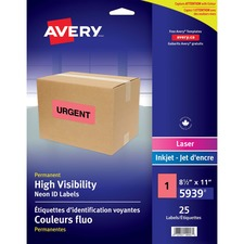 Avery® High Visibility Neon ID Labels - Permanent Adhesive - Rectangle - Inkjet, Laser - Neon Red - 25 / Sheet - 1 Total Sheets - 25 / Pack