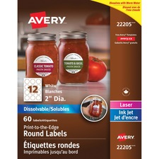 Avery® Dissolvable Print-to-the-Edge Round Labels - Permanent Adhesive - Round - Inkjet, Laser - White - 12 / Sheet - 5 Total Sheets - 60 / Pack