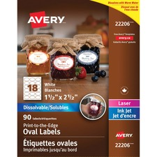 Avery® Dissolvable Print-to-the-Edge Oval Labels - Permanent Adhesive - Oval - Inkjet, Laser - White - 18 / Sheet - 5 Total Sheets - 90 / Pack