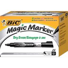 BIC Magic Marker Dry Erase Markers - Chisel Marker Point Style - Black Barrel - 24 / Pack