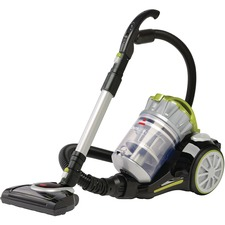 "BISSELL PowerClean Multi-Cyclonic Canister Vacuum w/ Motorized Power Foot 1654C - 2 L - Bagless - Motorized Floor Nozzle, Telescopic Wand, Brushroll, Upholstery Tool, Dusting Brush, Crevice Tool - 12"" (304.80 mm) Cleaning Width - Carpet, Bare Floor, Hard Floor - 18 ft Cable Length - Pet Hair Cleaning - AC Supply - 9.20 A - Black, Cha Cha Lime"