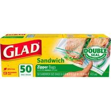 "Glad Sandwich Zipper Bags - 6.63"" (168.28 mm) Width x 5.88"" (149.23 mm) Depth - Clear - 50/Box - Food, Sandwich, Multipurpose"