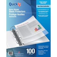 """QuickFit Sheet Protectors - For Letter 8 1/2"""" x 11"""" Sheet - 3 x Holes - Clear - Polypropylene - 100 / Box"""