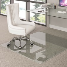 """Deflecto Premium Clear Glass Chairmat - Carpet, Hard Floor - 60"""" (1524 mm) Length x 48"""" (1219.20 mm) Width x 0.25"""" (6.35 mm) Thickness - Rectangle - Tempered Glass - Clear"""