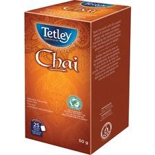 Tetley 100% Rainforest Alliance Certified Chai Tea - Black Tea - Cinnamon, Cardamom, Ginger, Star Anise, Clove - 25 / Box