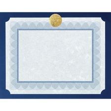 "First Base Flat Presentation Card Certificate Holder - Support 8.50"" (215.90 mm) x 11"" (279.40 mm) Media - 12.50"" (317.50 mm) x 9.75"" (247.65 mm) x - Linen - 25 / Pack - Navy, Gold"