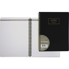 "Hilroy Cambridge 9.5"" Work Style Notebook - 80 Pages - Wire Bound - Black Cover - Flexible Cover - 1Each"
