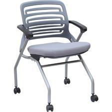 Heartwood Cleo Nesting Training Chair - Light Gray Fabric, Foam Seat - Plastic Back - Metallic Gray Metal Frame - Four-legged Base - Armrest - 2 / Carton