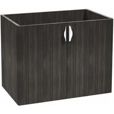 "Heartwood Innovations Grey Dusk Laminate Desking Storage Cabinet - 35.5"" x 21.8"" x 28"" - Drawer(s)2 Door(s) - Material: Aluminum Handle - Finish: Gray Dusk"