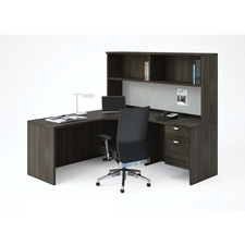 """Heartwood Innovations Grey Dusk Laminate Desking Lateral File Top - 35.5"""" x 23.8"""" x 1"""" - Material: Wood Grain, Particleboard, Polyvinyl Chloride (PVC) Edge - Finish: Gray Dusk, Thermofused Laminate (TFL)"""